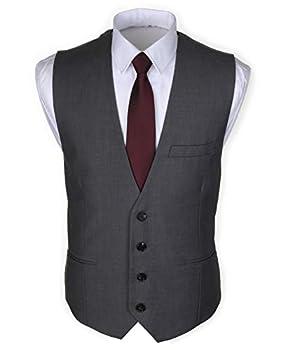 Ruth&Boaz Men s 3Pockets 4Button Business Suit Vest  XXXL Grey
