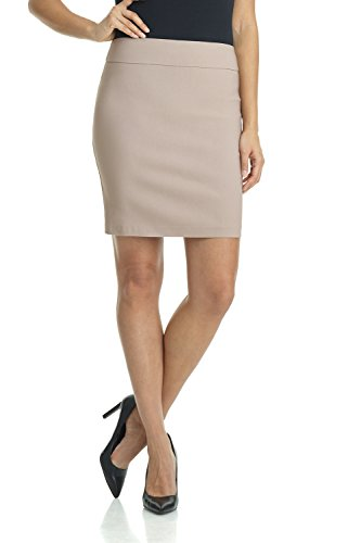 Rekucci Women's Ease Into Comfort Above The Knee Stretch Pencil Skirt 19 inch (Large,Khaki)