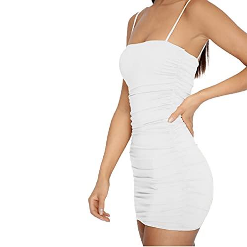 Lanven - Canottiera aderente da donna, in puro colore, senza maniche, con una spalla, per la pancia bianco M