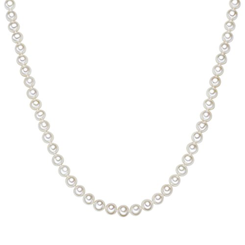 Valero Pearls Damen-Kette Hochwertige Süßwasser-Zuchtperlen in ca. 7 mm Oval weiß 925 Sterling Silber in verschiedenen Länge - Perlenkette Halskette mit echten Perlen weiss 60201622
