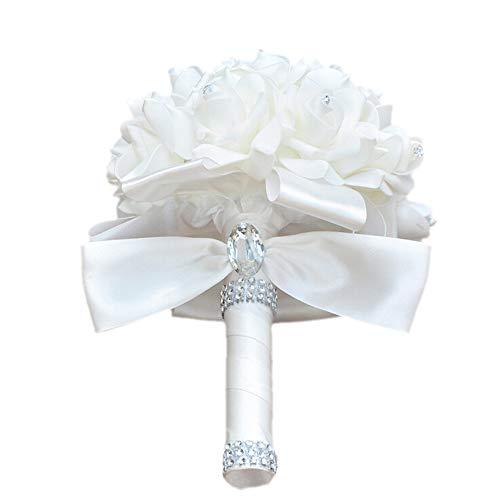 Bleiou Colorful Foam Roses Artificial Flower Wedding Bride Bouquet Party (White+White)