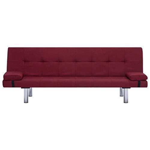 Lechnical Sofá Cama Rojo Burdeos Revestido de poliéster, sofá Cama Familiar Estilo Moderno 168 x 77 x 66 cm (Largo x Ancho x Alto) -3 ángulos Ajustables Trae 2 Almohadas