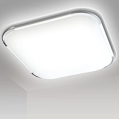 SWANEW Lámpara de techo LED de 12 W, lámpara de baño, 1080 lm, sin parpadeo, 6500 K, blanco frío, antideslumbrante.