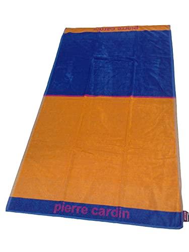 PIERRE CARDIN - Toalla de playa unisex de rizo 100% algodón (doble naranja/azul, 86 x 156 cm)