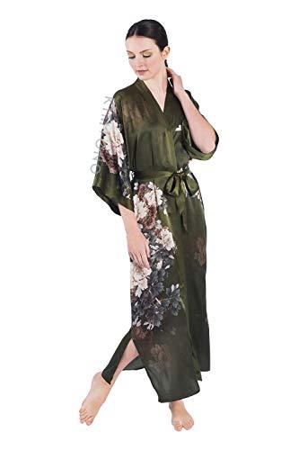 KIM+ONO Women's Silk Kimono Robe Long - Floral Print (Keina-...