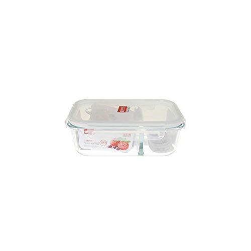 FXPCYGZ Contenants Alimentaires Anti-fuites, Bol Frais séparé rectangulaire, avec boîte à Lunch en Verre pour la Vaisselle, Deux Compartiments de boîte à Lunch, 600 ML, va au Lave-Vaisselle/m