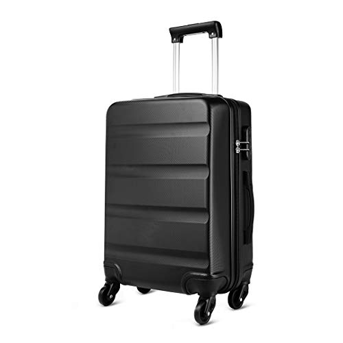 Kono Medium 24'' Hard Shell Suitcase Lightweight Hand Luggage Travel Trolley Suitcase with 4 Wheels and Dial Combination Lock(Black)