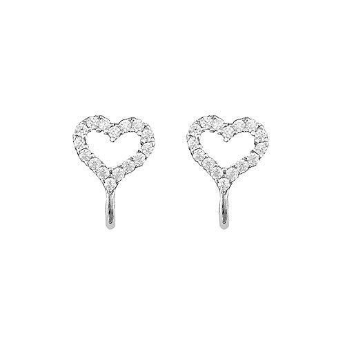CZ Love Heart Cuff Open Hoop Cartilage Climber Earrings for Women Teen Girls S925 Sterling Silver Tiny Minimalist Dainty Crystal Cute Bead Wrap Clip on for Non Piercing Upper Ear Lobe Hypoallergenic