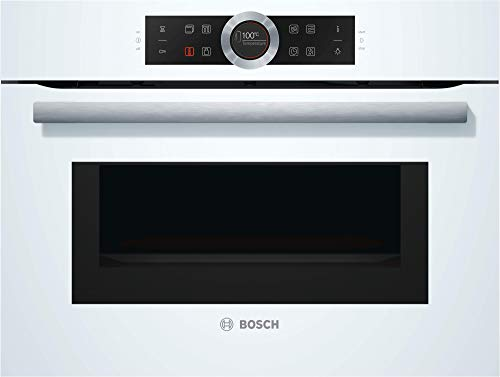 Bosch CMG633BW1 Série 8 Four compact encastrable avec fonction micro-ondes / 45 L/blanc/ColorGlass/AutoPilot 14 / écran TFT