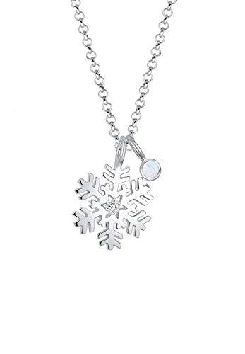 Elli Halskette Schneeflocke Mondstein Swarovski® Kristalle Silber