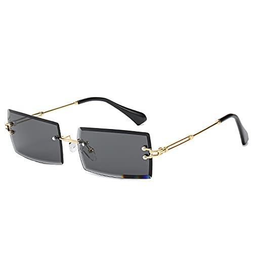 Moda pequeño rectángulo gafas de sol mujeres sin montura cuadrado gafas de sol verano estilo femenino verde marrón, C2,