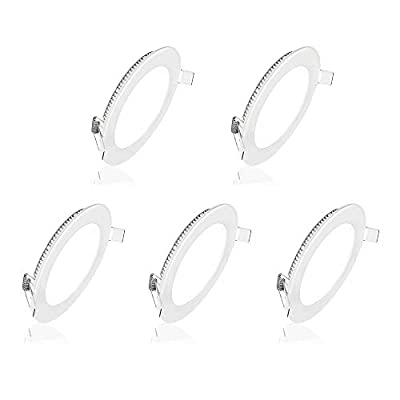 Pocketman 5 Pack Round Ultrathin 12W 6-inch Flat LED Recessed Panel Ceiling Light,850lumens,AC85-265V,for Home, Office, Commercial Lighting
