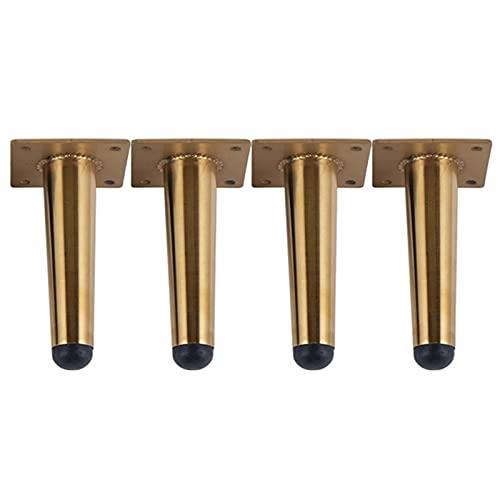SHOP YJX Patas de mesa de acero inoxidable para muebles de TV, patas de sofá, patas de gabinete, 10/12 cm de carga de 900 kg de pierna cónica, 4 patas de muebles (color: dorado recto, tamaño: 10 cm)