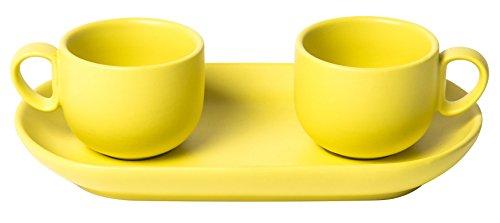 BITOSSI bis Set 2 Tazze da caffè con Vassoio, Ceramica, Giallo, 6x6x5 cm