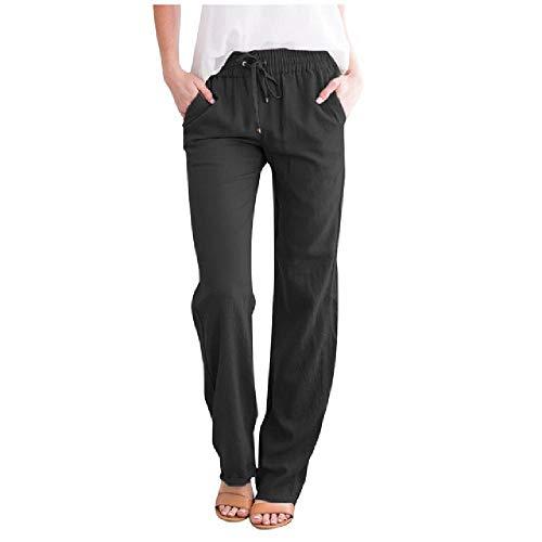 NP Casual Losse Broek Dames Linnen mid-Taille Trekkoord Elastische Taille Pocket Wide-Leg Broek - zwart - XL