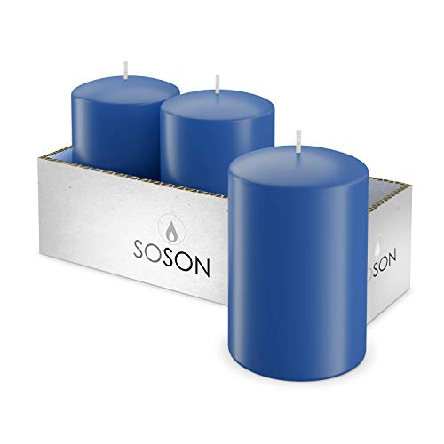 Simply Soson 3x4 Inch Hand Dipped Pillar Candles for Outdoor Decorations, Hand Poured Natural Wax, Classic Blue Unscented Smokeless and Drip-Less Pillar Candles-Cotton Wick for Wedding (Pack of 3)