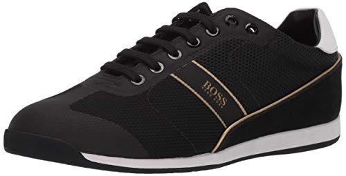 Hugo Boss Men's Akeen Suede Sneaker, Black/Yellow/White, 43 Medium US