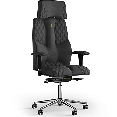 KULIK SYSTEM Silla de escritorio para computadora con soporte ergonómico patentado y cojín de asiento   Silla de oficina ergonómica   Silla de ordenador para el hogar – Tela de costura (Azur – Gris)