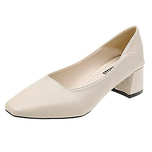Zapatos de Corte para Mujer, Punta Cuadrada, deslizantes, de Corte bajo, Elegantes, de tacón Medio, Zapatos de Cuero, Ligeros, Transpirables, de Color sólido