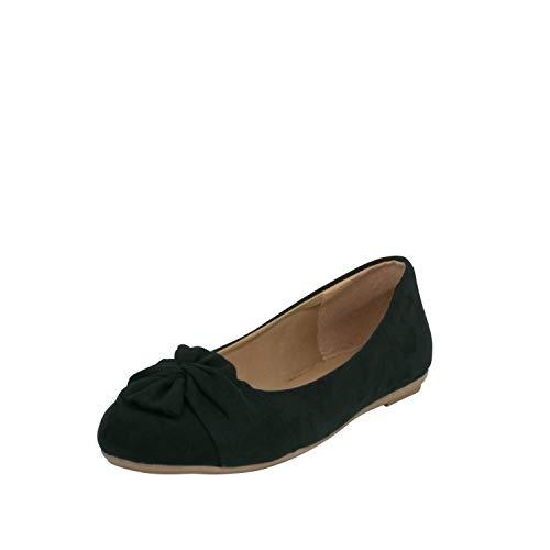 Fitters Footwear That Fits Damen Ballerina Maike Microfibre Mikrofaser Ballerinas mit Schleife Übergröße (46 EU, schwarz)