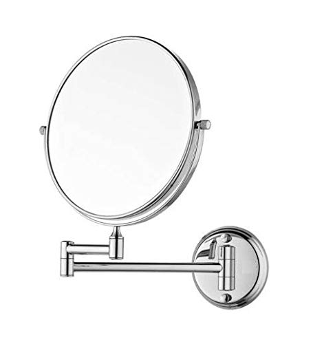 NEW WARE Premium Quality Stylish Makeup/Shaving/Bathroom Mirror with Magnifying and Wall Bracket with Adjustable Frame (Silver, 8 Inch)