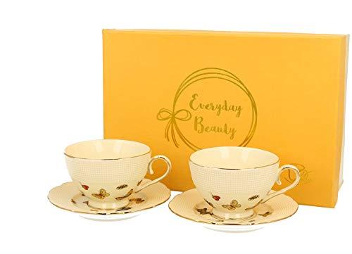 DUO Collection Butterflies - Juego de 2 tazas de café con platillos de porcelana en caja de regalo, 125 ml