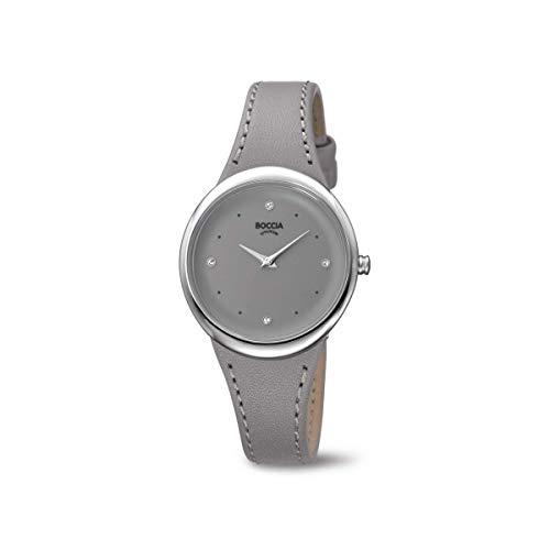Boccia Damen Analog Quarz Uhr mit Leder Armband 3276-07