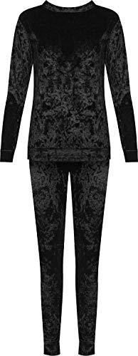 WearAll damski zgnieciony aksamitny zestaw bielizny do siedzenia damskie top spodnie welurowe dres długie 8-16