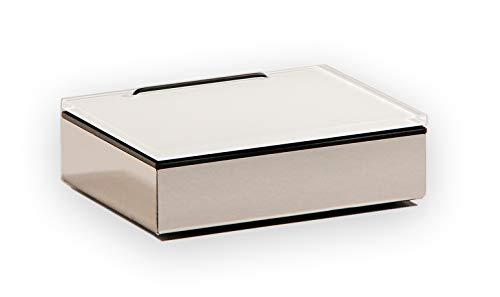 Schönbeck Design Feuchttücherbox, Edelstahl poliert und Glas weiß