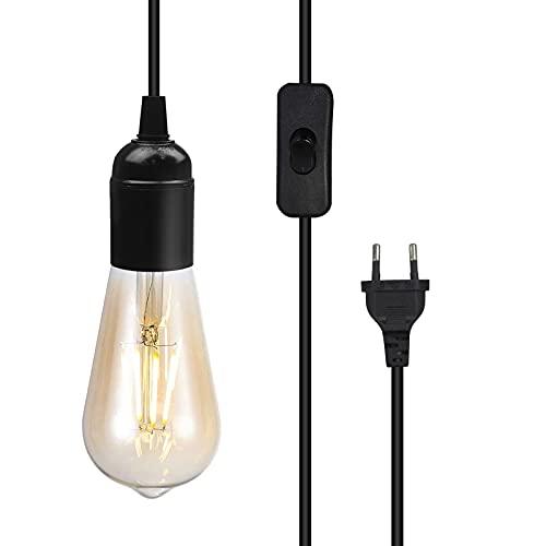 Portalámparas E27 con interruptor, cable de 1,8 m, lámpara de techo industrial con interruptor ON/OFF y enchufe para comedor, salón, restaurante, bar, cafetería negro