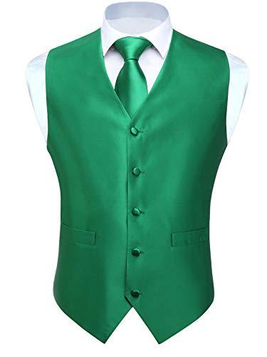 Men's Vests Dress Solid Suit Vest for Men 3pc Waistcoat & Tie and Pocket Square Green Vest Suit Tuxedo Set Wedding Party