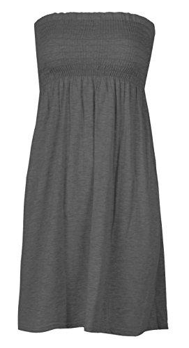 Women Sheering Strapless Plain Top Beach Dress Top Casual wear Size 6-20 (8-10, Charcoal)