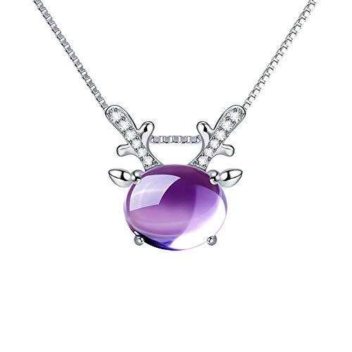 Collar De Alce Mujer Plata De Ley 925 Ins Moda Natural Hibiscus Piedra Cristal Lindo Animal Colgante Collar Colgante para Esposa Y Mamá, Collar De Amigo (Color : Purple)