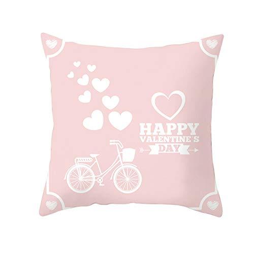 KnBoB Funda de Almohada Rosa 40 x 40 cm Haapy Valentine's Day Corazón Poliéster Estilo 2