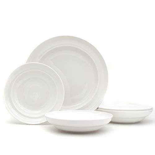 EuroCeramica Essential Collection Porcelain Dinnerware and Serveware, 5 Piece Pasta and Serve Set, Inverted Rim Design, Classic White
