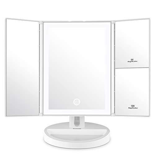 Auxmir Schminkspiegel, 3 Seiten Kosmetikspiegel Tischspiegel Faltbar mit 34 LED, Dimmbarer Helligkeit und 1X 5X 10X für Makeup Schminken und Rasieren