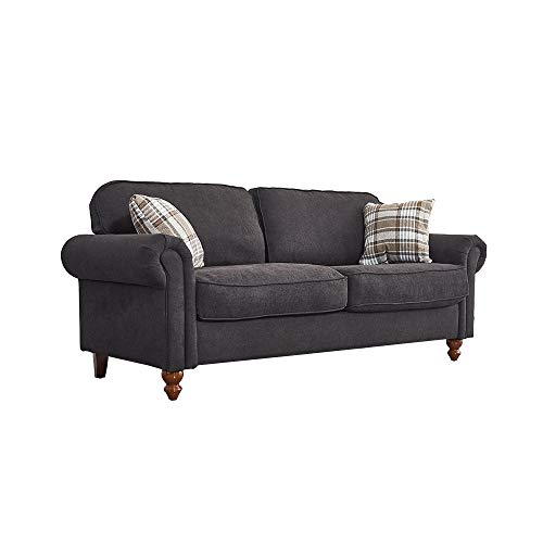 2 Seater / 3 Seater Sofa Couch Settee Fabric Sofa Living Room Sofa with Retro Design Leg and 2 Free Cushions (Black, 3 Seater)