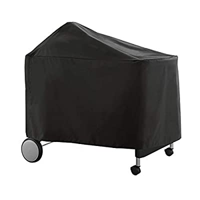 SunPatio Outdoor Grill Cover, Heavy Duty Waterproof Charcoal Barbecue Cover for Weber 22 Inch Performer Premium Deluxe Grills, Durable FadeStop Material, Compared to Weber 7152, Black