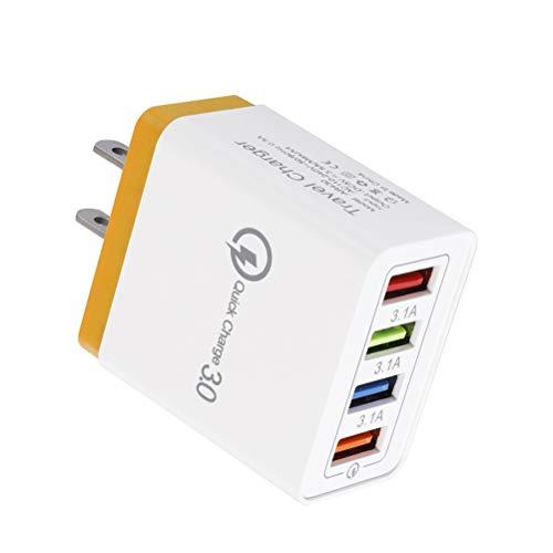 BBABBT Enchufe del Cargador USB - Enchufe Adaptador de Viaje Universal USB de 4 Puertos, Cargador rápido QC3.0 de múltiples Puertos 3.1A Cargador de Pared para iPhone, iPad, Android, tabletas y más