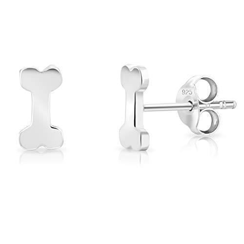 DTPsilver® KLEINE Ohrringe 925 Sterling Silber - Hündchen Hund Hundeknochen Ohrstecker - Messung 4 x 8 mm