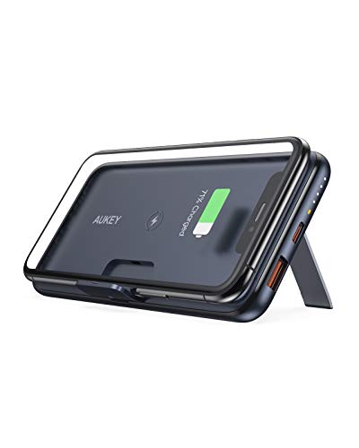 USB C Power Bank, AUKEY Wireless Portable Charger 10000mAh with Foldable Stand, 18W Power Delivery & Quick Charge 3.0 Power Bank for iPhone 12/12 Pro/12 Pro Max/11/11 Pro, Samsung, iPad