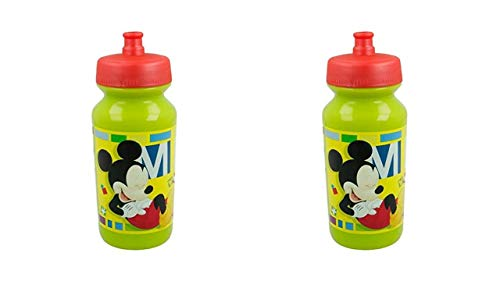 3148; pack de 2 Botellas para Agua push-up Disney Mickey Mouse; Capacidad 340ml; Reutilizable; No BPA