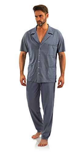 Sesto Senso Pijama Hombre Botones Verano Algodón Pantalon Largo Camisa Corto M Ancla Grafito