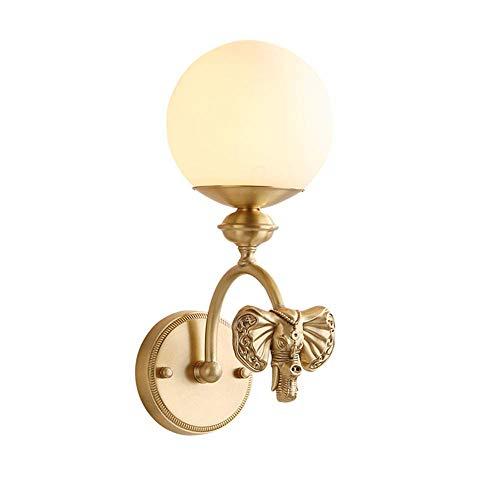 Lampe murale en laiton LED intérieur rétro cuivre lampe ronde globe en verre Ivoire abat-jour mur Lampe E27 or-déconner éléphant tête décoratif éclairage pour chambre salle à manger salle de séjour