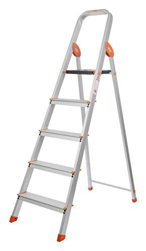 Bathla Advance Carbon - 5 Step Foldable Aluminium Ladder with Scratch Resistant Smart Platform and Sure-Hinge Technology (Orange)