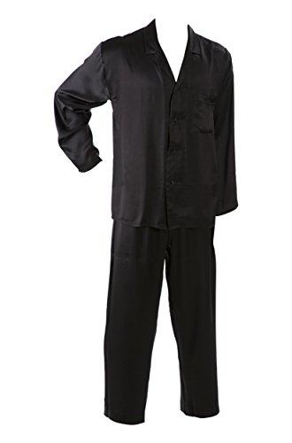 SUPERIOR NATURALS, Pyjama, Schlafanzug, Herren, 100{d80297df78cb8d06b33ce755a71be4ddf0cf0b2a741533a4c008832fcabe769e} Seide, Schwarz, XL