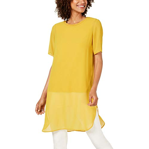 Alfani Womens Scoop Neck Short Sleeves Tunic Top Gold XL