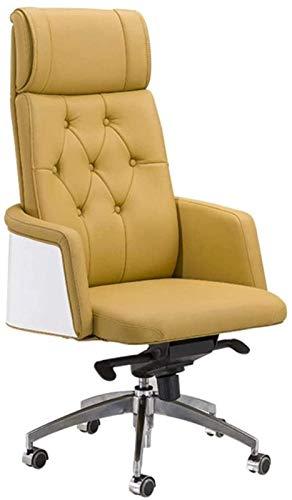 Nuova sedia da ufficio girevole in pelle PU reclinabile, altezza del sedile regolabile Sedia da scrivania per computer Sedia con braccioli reclinabili Sollevamento a gas (Colore: Beige, Dimensioni: Pe