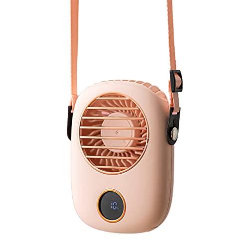 MARSPOWER F9 Cuello colgante Ventilador pequeño Radiador recargable Viaje al aire libre Portátil Silencioso Ventilador de PC pequeño Pantalla LED - Rosa