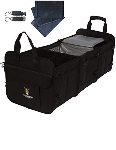 Tuff Viking Convertible Large Trunk Organizer with Built-in Insulated Leakproof Cooler Bag - 3 Compartments, Easy to Clean (4-in-1, Black)